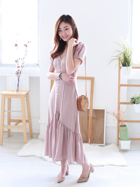 Javerick Button-Down Midi in Blush