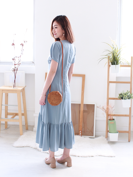 Javerick Button-Down Midi in Dusty Blue