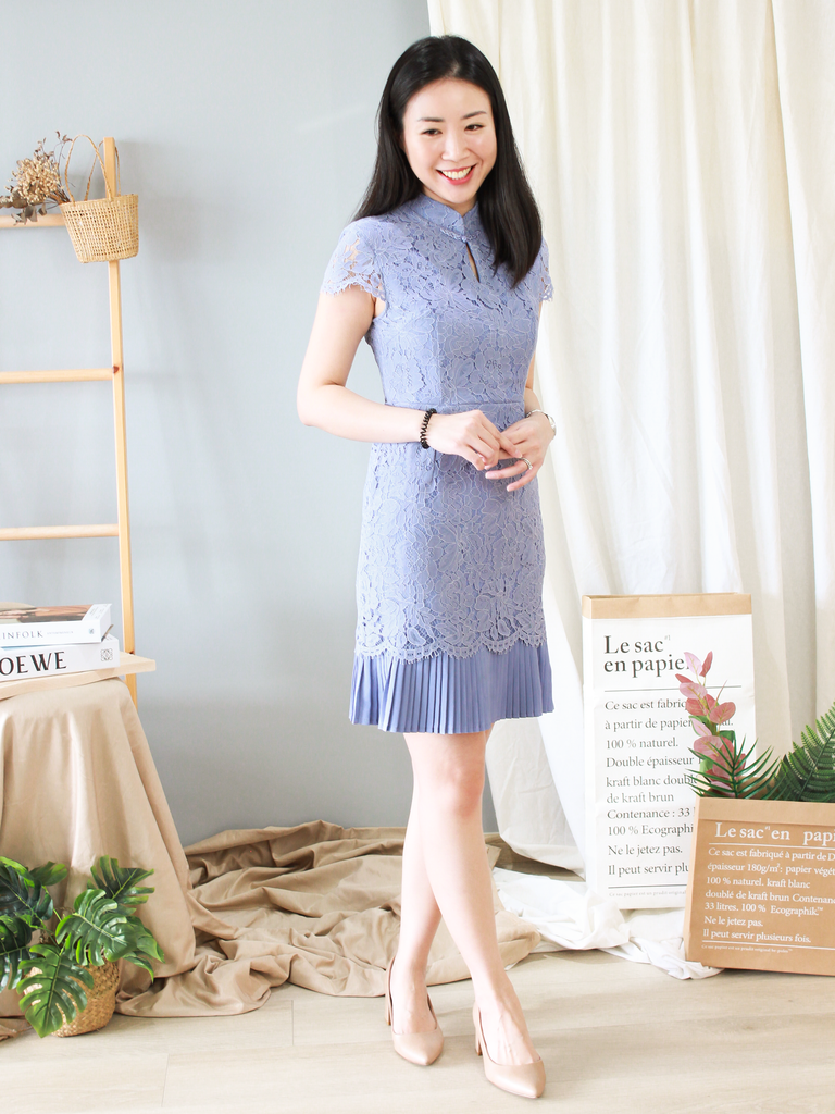 Odelia Pleated Lace Cheongsam