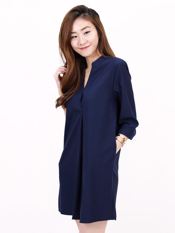 Anders Shirt Dress in Navy