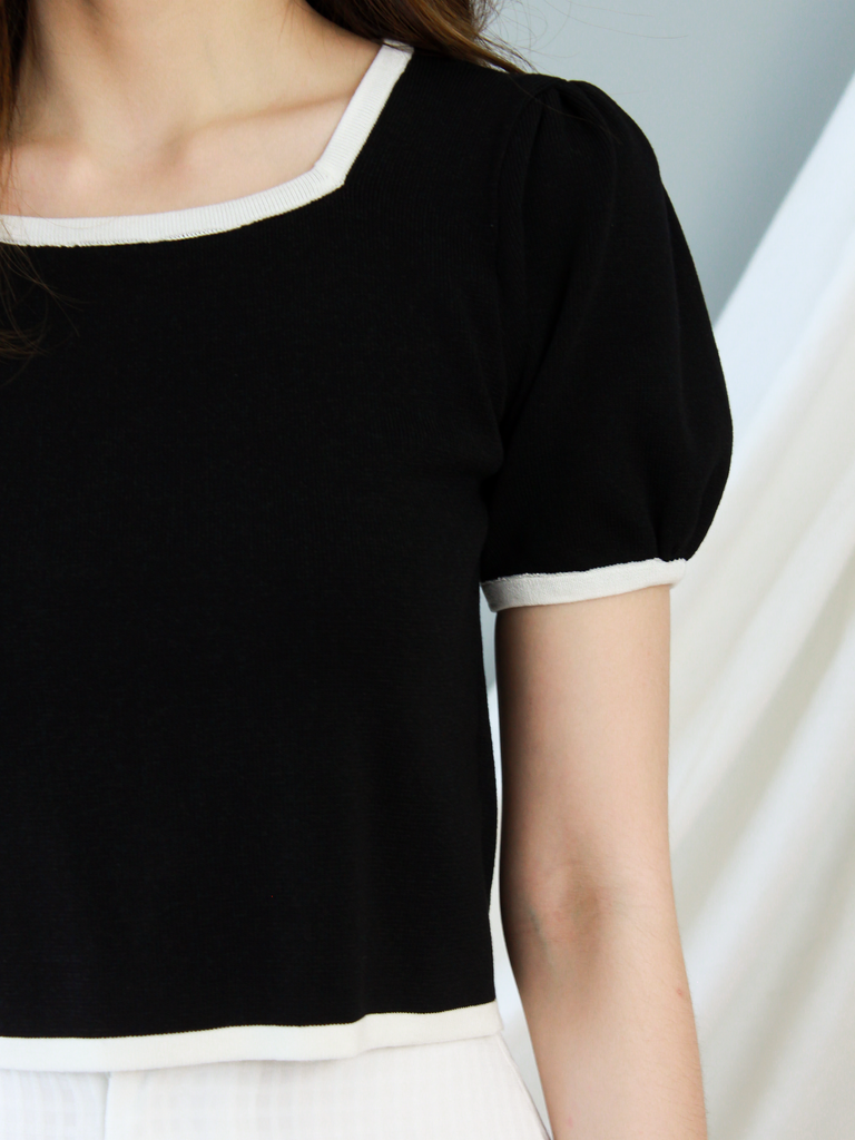 BACKORDER | Joie Knit Square-Neck Top in Black