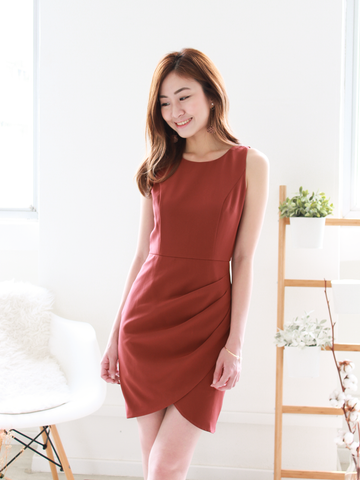 Freya Overlap Dress in Rust