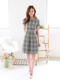Robyn Plaids Button Belt Dress