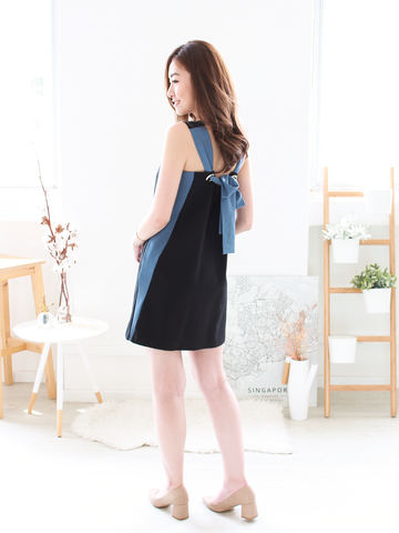 Emmett Tie-back Shift Dress in Black/Blue