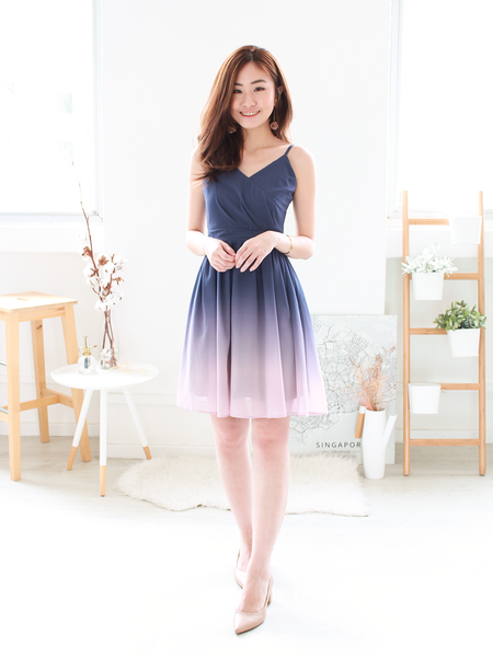 Adah Ombre Dress in Navy