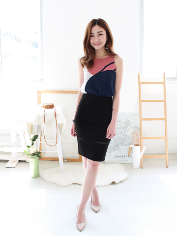 Louis Ladder-Trim Fitted Skirt in Black | *MADEBYWC