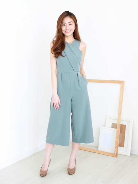 Criss-Cross Wrap Jumpsuit in Ash Blue