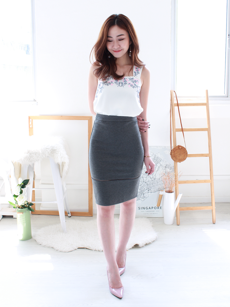 Louis Ladder-Trim Fitted Skirt in Heather Grey | *MADEBYWC