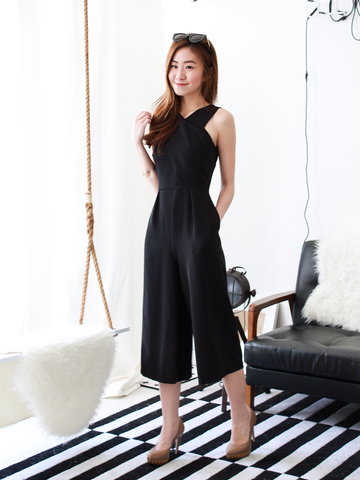 Criss-Cross Wrap Jumpsuit in Black