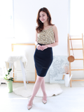 Louis Ladder-Trim Fitted Skirt in Navy | *MADEBYWC