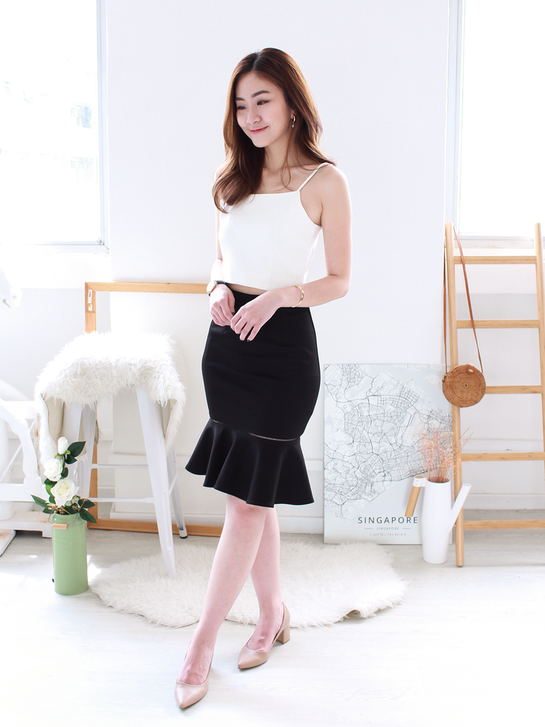 Louis Ladder-Trim Trumpet Skirt in Black | *MADEBYWC