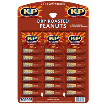 Dry Roasted KP Nuts | Card of 21 Packets (50g) - NetCrisps