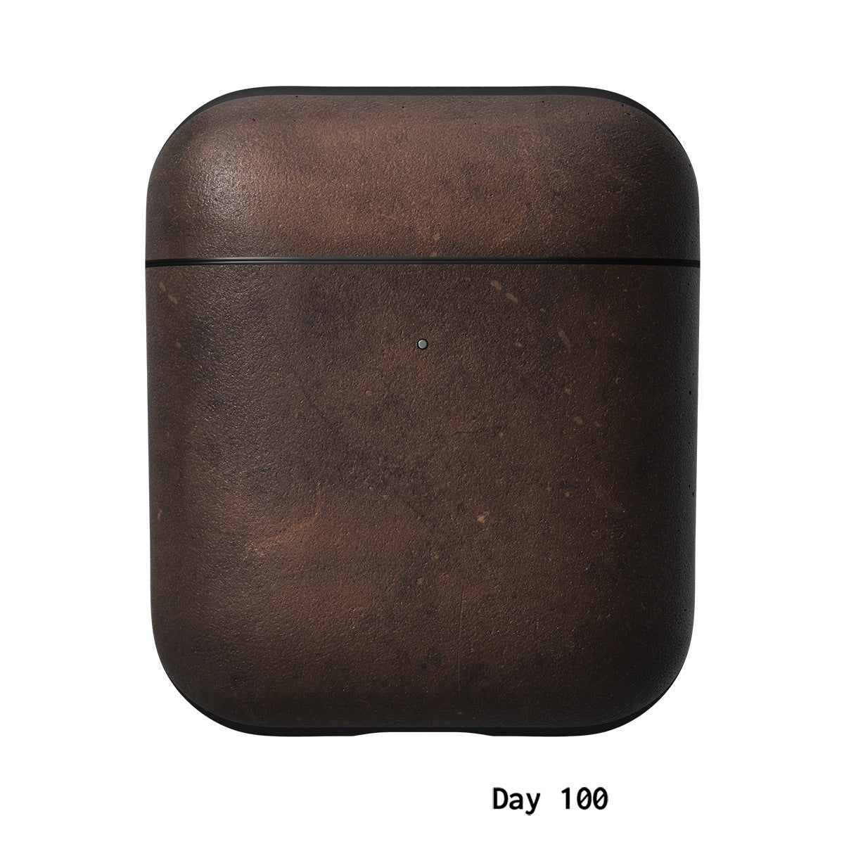 AirPods Rugged Case Horween leather patina after one hundred days.