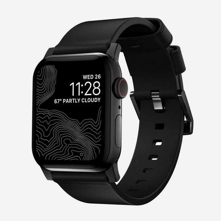 Apple Watch Black Leather Band, Modern + Black Hardware