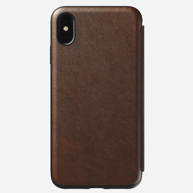 Rugged Leather Folio Case for iPhone Xs Max, Brown