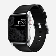 Apple Watch Black Leather Band, Modern + Silver Hardware