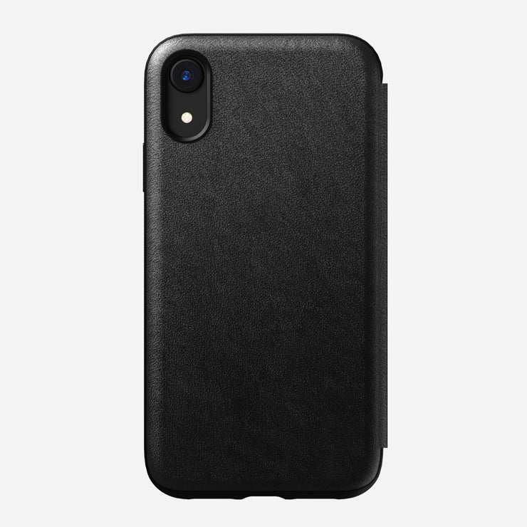 Rugged Leather Folio Case for iPhone Xr, Black