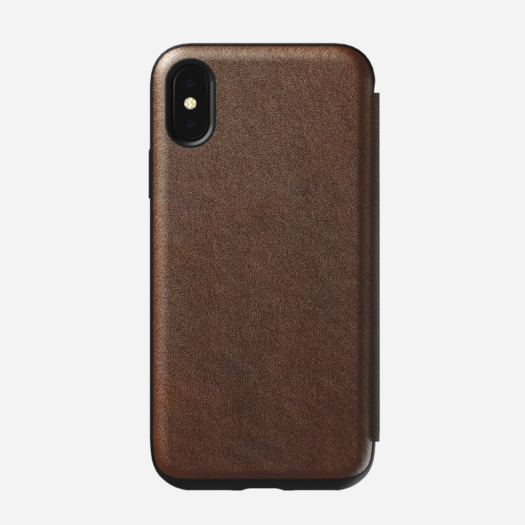 Rugged Leather Tri-Folio Case for iPhone Xs, Brown