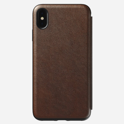 Rugged Leather Tri-Folio Case for iPhone Xs Max, Brown