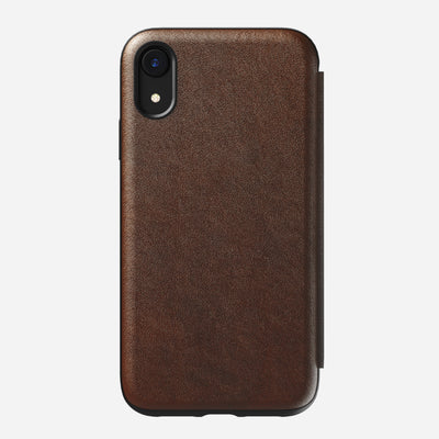 Rugged Leather Tri-Folio Case for iPhone Xr, Brown