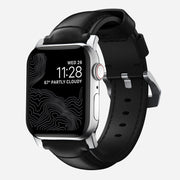 Apple Watch Black Leather Band, Traditional + Silver Hardware