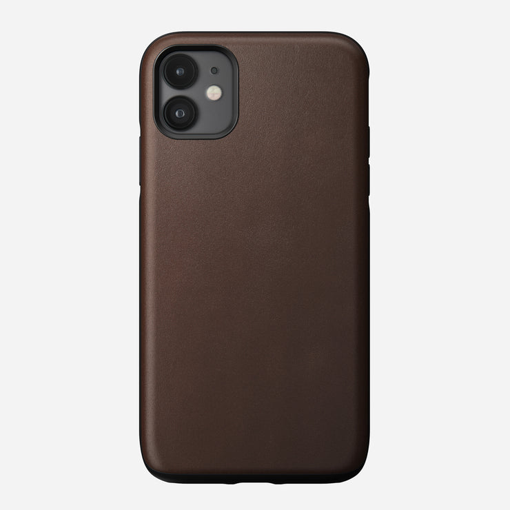 Rugged Leather Case for iPhone 11, Brown