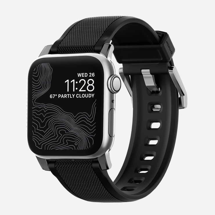 Apple Watch Silicone Band With Silver Hardware
