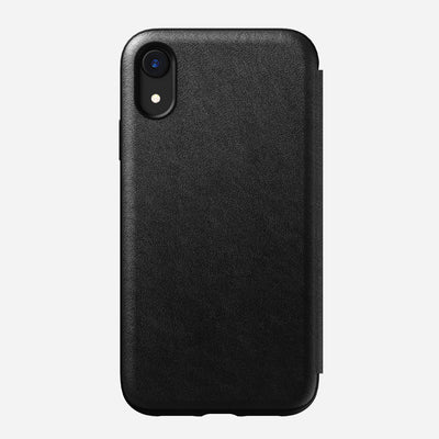 Rugged Leather Tri-Folio Case for iPhone Xr, Black