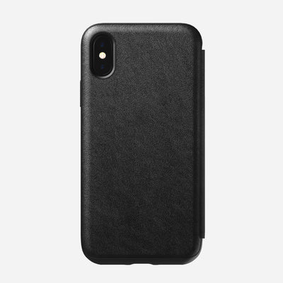 Rugged Leather Tri-Folio Case for iPhone Xs, Black