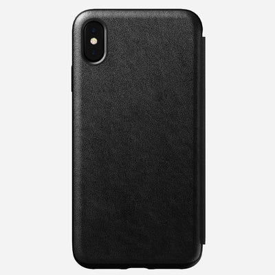 Rugged Leather Tri-Folio Case for iPhone Xs Max, Black