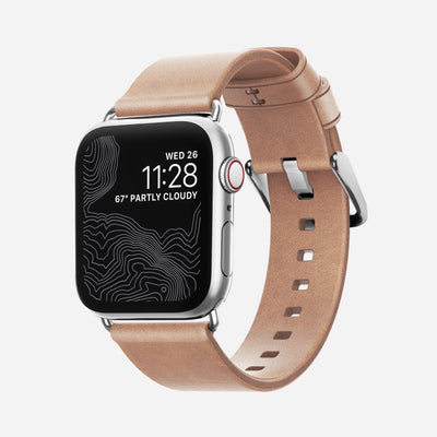 Apple Watch Natural Leather Band, Slim + Silver Hardware