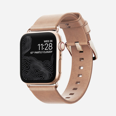 Apple Watch Natural Leather Band, Slim + Gold Hardware