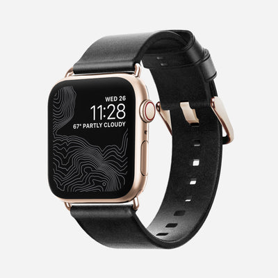 Apple Watch Black Leather Band, Slim + Gold Hardware