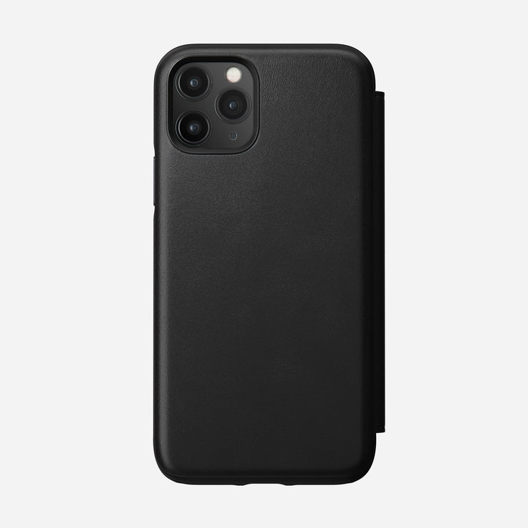Rugged Leather Folio Case for iPhone 11 Pro, Black