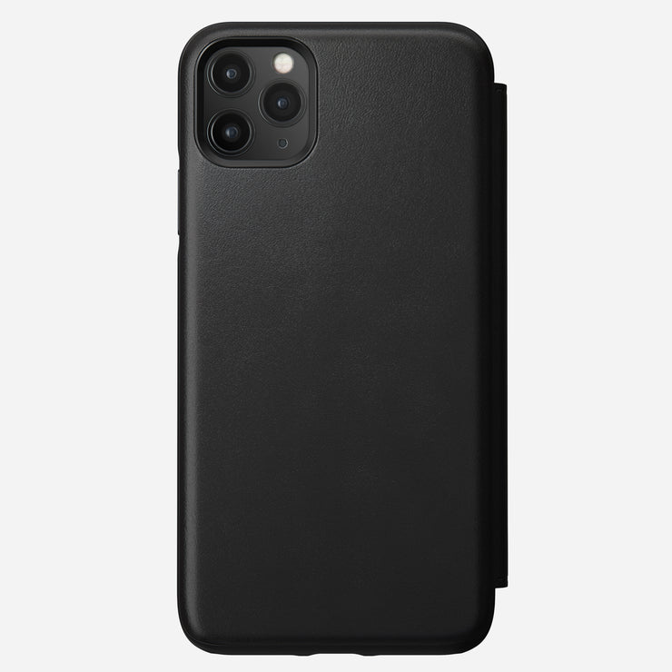 Rugged Leather Tri-Folio Case for iPhone 11 Pro Max, Black