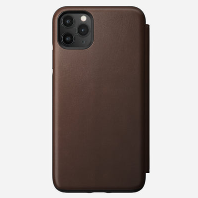 Rugged Leather Tri-Folio Case for iPhone 11 Pro Max, Brown