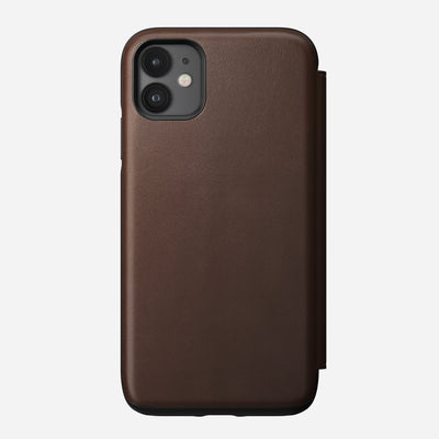 Rugged Leather Tri-Folio Case for iPhone 11, Brown