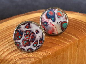 *Blue Red White Art Earrings* - Studs