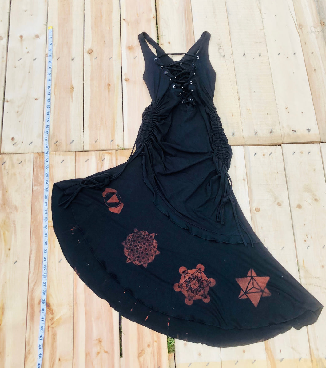 Large Black Maha Devi Sacred Geometry Dress One of a Kind