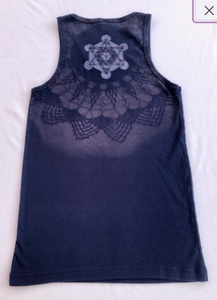 XL Blue Tank top Upcycled with Sacred Geometry Designs