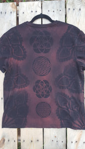 Large Black T-shirt Hand Stencilled with Sacred Geometric Designs One of a Kind