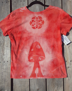 Small Red T-shirt Hand Stenciled with Trippy Mushroom & Sacred Geometric Designs One of a Kind