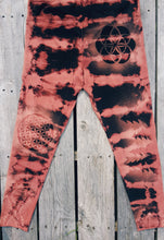 Load image into Gallery viewer, XL Leggings Hand Stencilled and Bleach Dyed with Shibori Technique One of a Kind