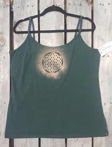 XL Sacramento Green Tank top Hand Stenciled with Sacred Geometric Designs  One of a Kind