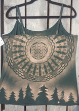Load image into Gallery viewer, XL Sacramento Green Tank top Hand Stenciled with Sacred Geometric Designs  One of a Kind
