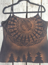 Load image into Gallery viewer, Large Black Tank top Upcycled Thrifted Hand Stenciled with Sacred Geometric Designs  One of a Kind