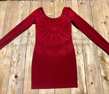 Load image into Gallery viewer, Small wine-coloured long sleeve dress Hand Stenciled with Chakra Designs One of a Kind