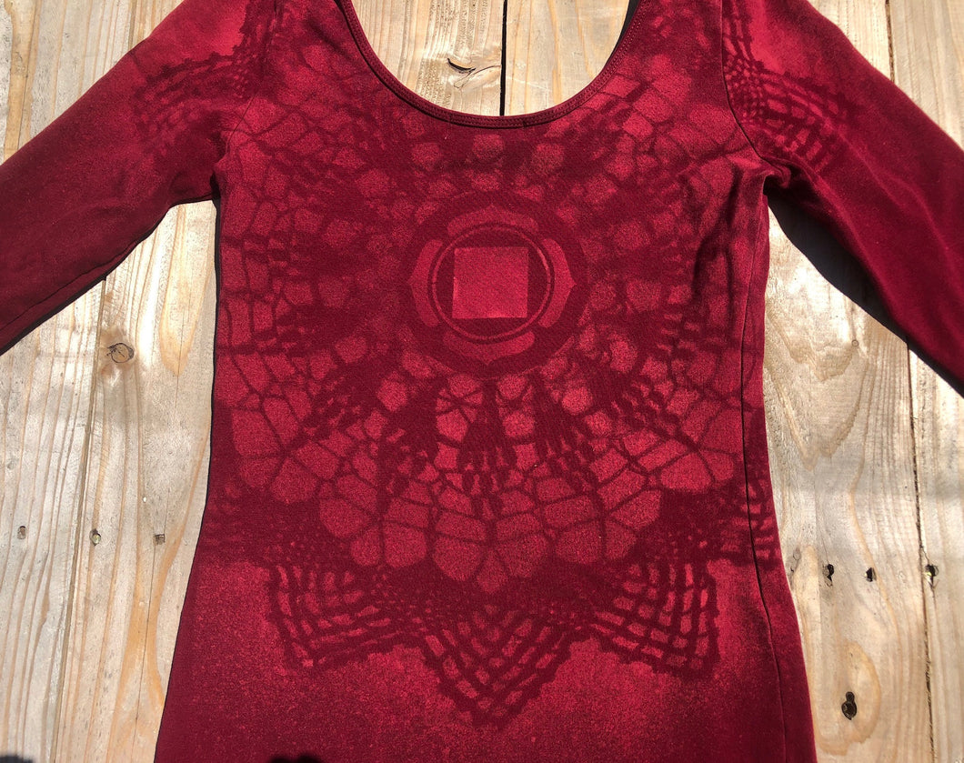 Small wine-coloured long sleeve dress Hand Stenciled with Chakra Designs One of a Kind