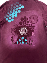 Load image into Gallery viewer, XL Purple Shroom T-shirt Hand designed artwork with Sacred Geometric Designs One of a Kind