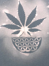 Load image into Gallery viewer, Medium Grey Weed T-shirt Hand Stenciled with Sacred Geometric Designs One of a Kind